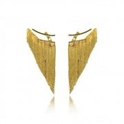 Brinco Médio Ear Jacket de Franjas Alto Brilho Folheado a Ouro 18k