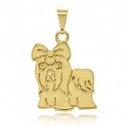 Pingente Cachorro Lhasa Com Laço Folheado a Ouro 18k