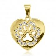 Pingente Coração e Pata de Cachorro Strass Folheado Ouro 18k