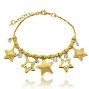 Pulseira Estrelas e Strass Folheado a Ouro 18k
