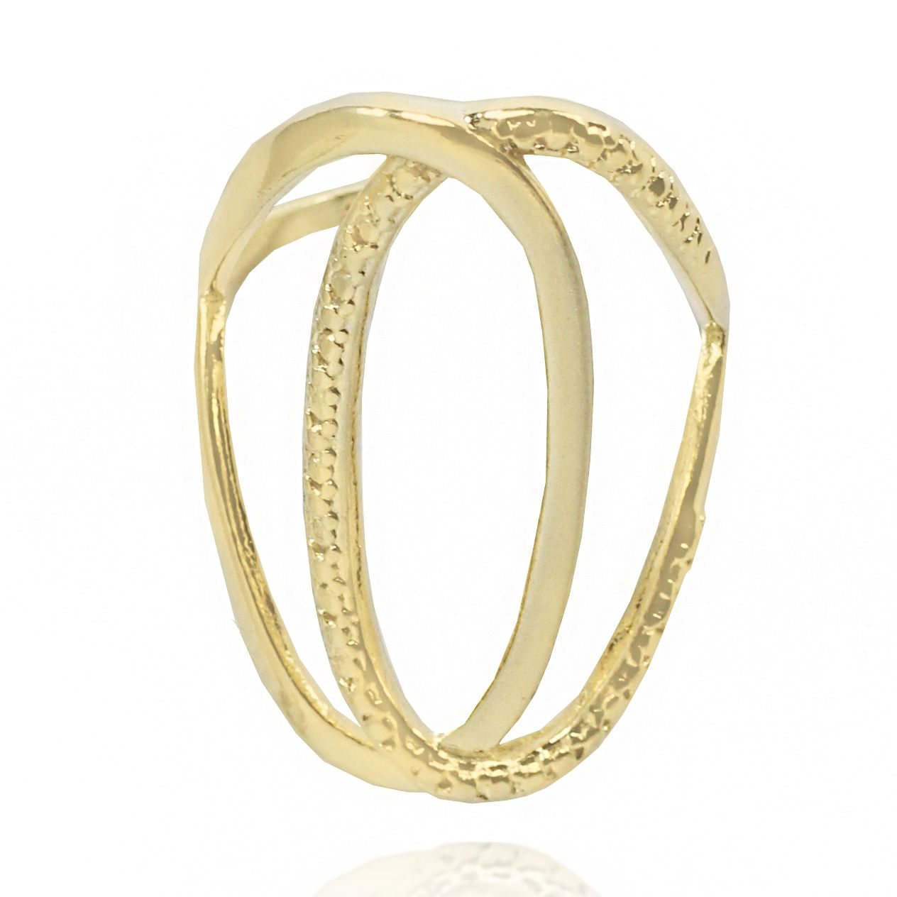 Anel Chanel Trabalhado  Folheado Ouro 18k