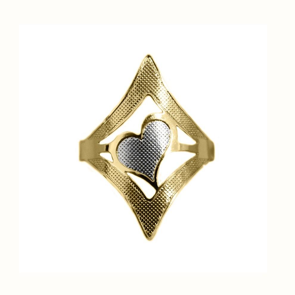 Anel de Coração Moderno Texturizado Banho Misto (Ouro 18k + Ródio)