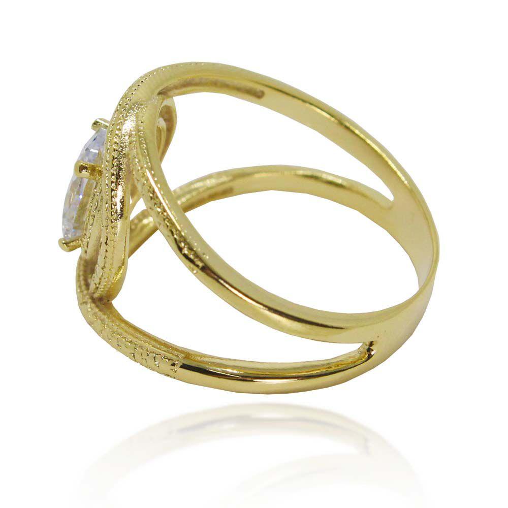 6e1fab38b Anel Diamantado Zircônia Oval Aro Duplo Folheado A Ouro 18K - Lunozê ...