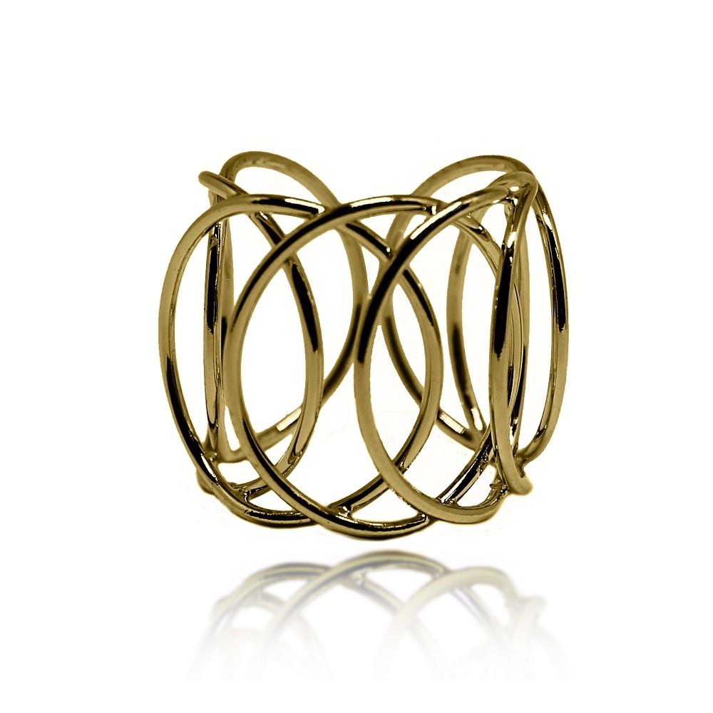 Anel Elos Circulares Vazados Folheado a Ouro 18k