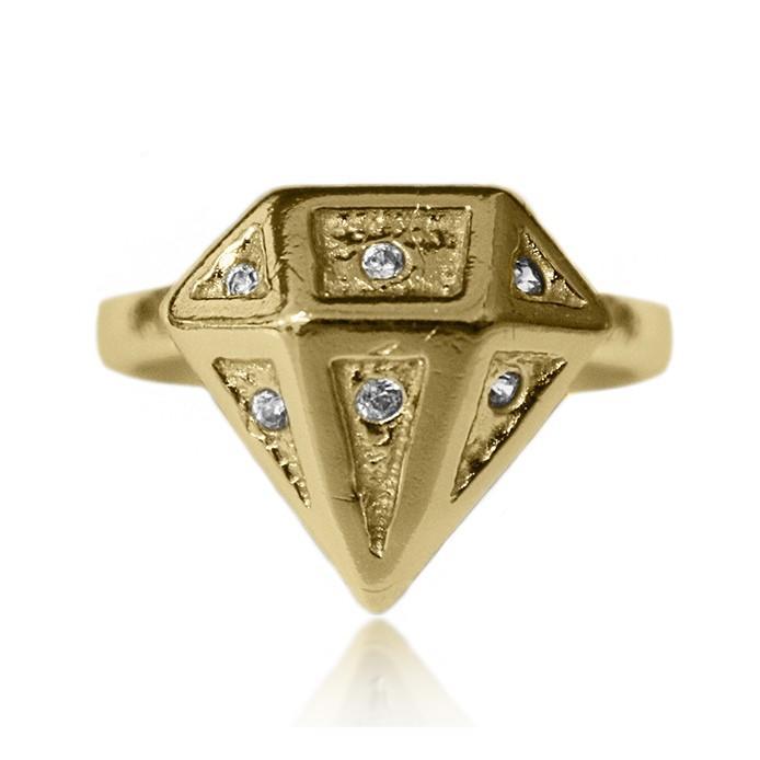 Anel em Formato de Diamante Adornado por Microzircônias Folheado a Ouro 18k