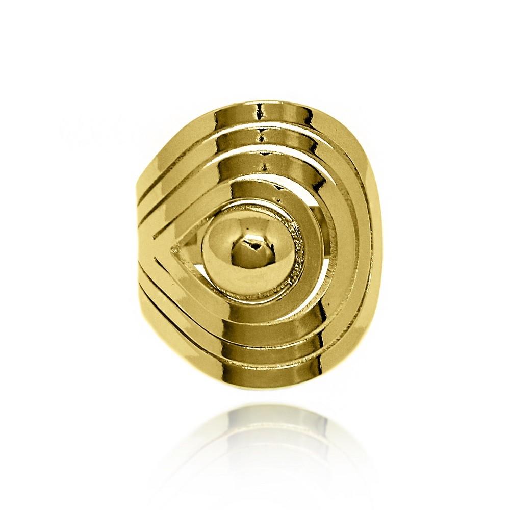 Anel Escudo com Bola Central Folheado a Ouro 18k