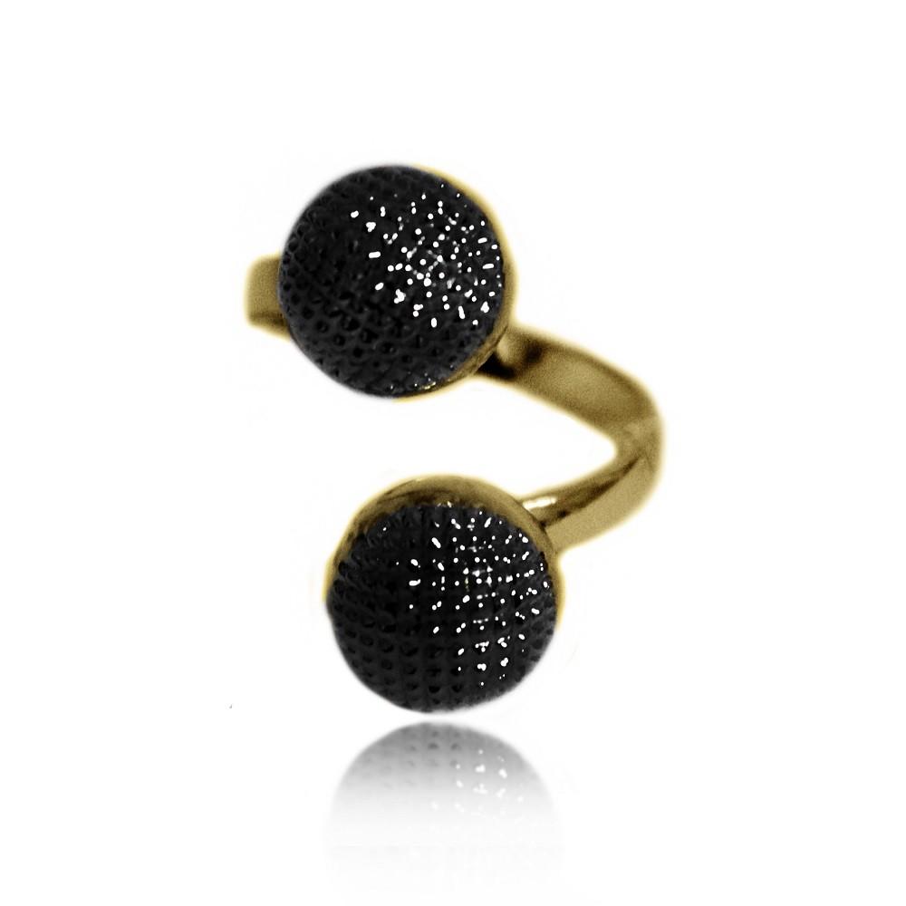 Anel Espiral 2 Bolas Texturizadas Banho Misto Ouro+Negro