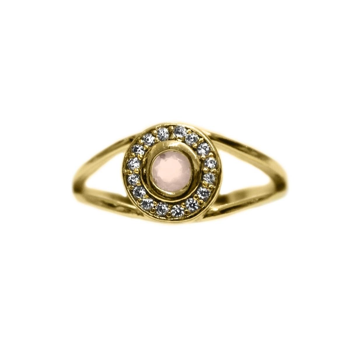 00a4710b50f ... Anel Redondo Pequeno de Pedra Cravejado Com Micro Zircônia Folheado A Ouro  18K - Lunozê Joias ...