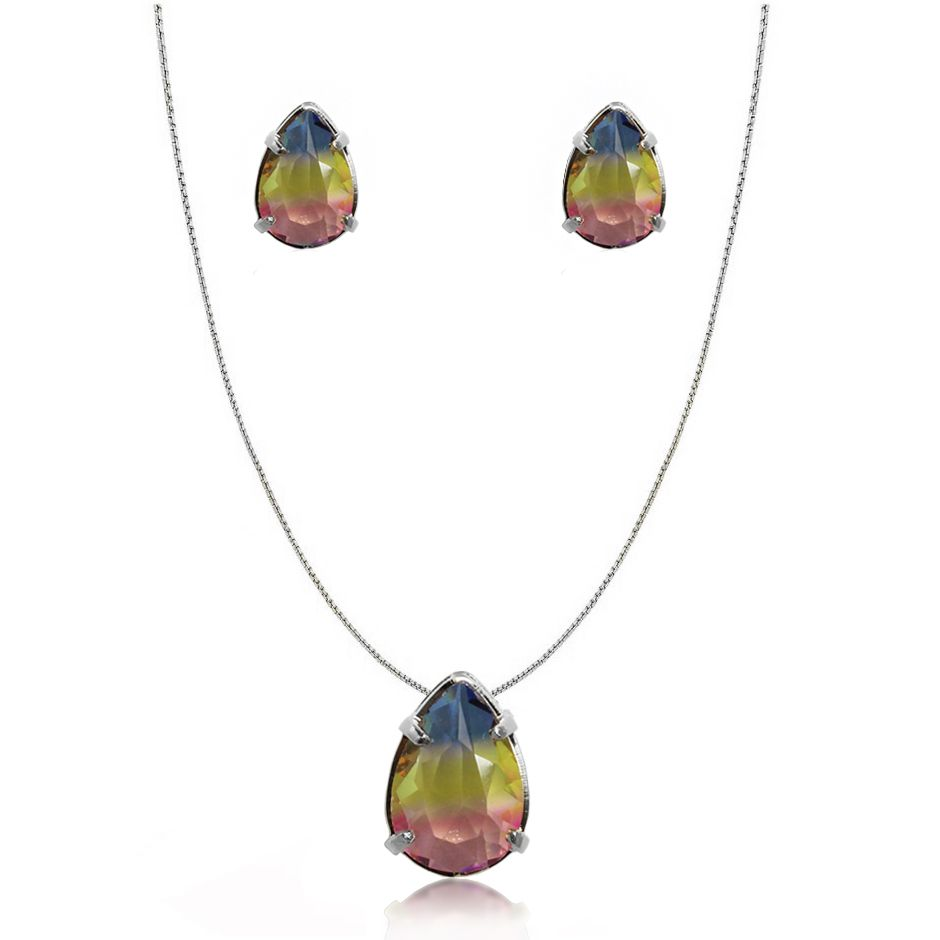 Conjunto Pedra Rainbow Gota Folheado Prata 1000