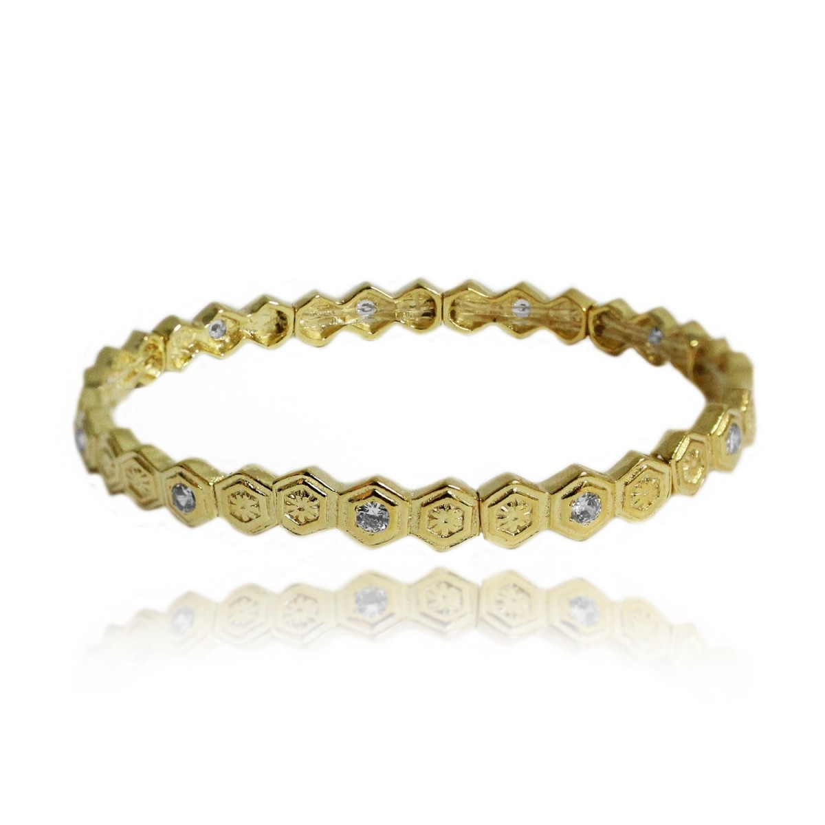 Bracelete Adornado por Hexágonos com Detalhes Cravejados Folheado a Ouro 18k