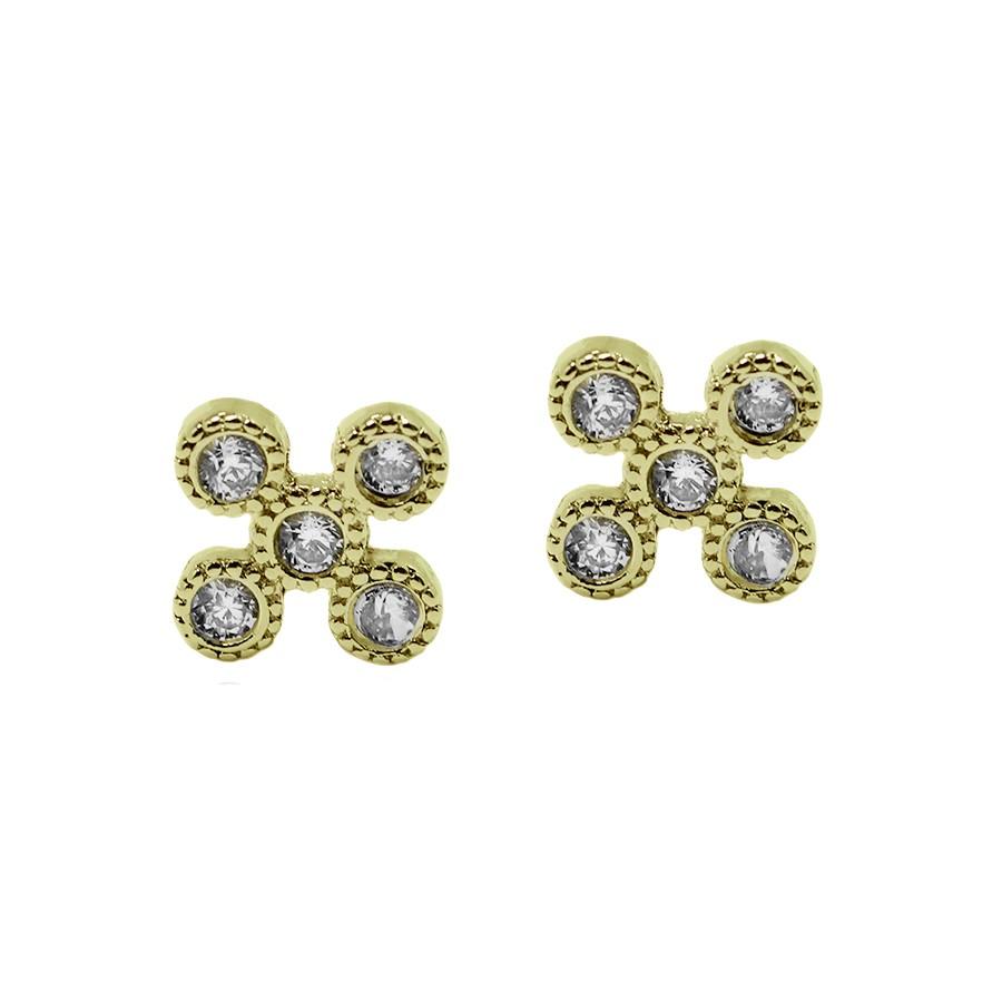 Brinco 5 Micro Zirconias Folheado a Ouro 18k