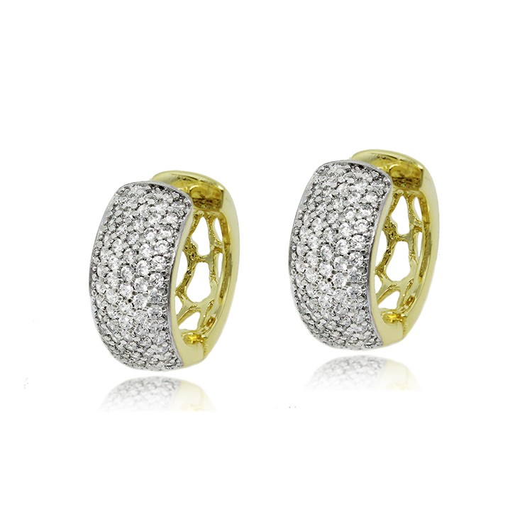 produtos detalhes brinco de argola cravejado com zirconias folheada a ouro  - Busca na Lunozê Joias 50ecedc490
