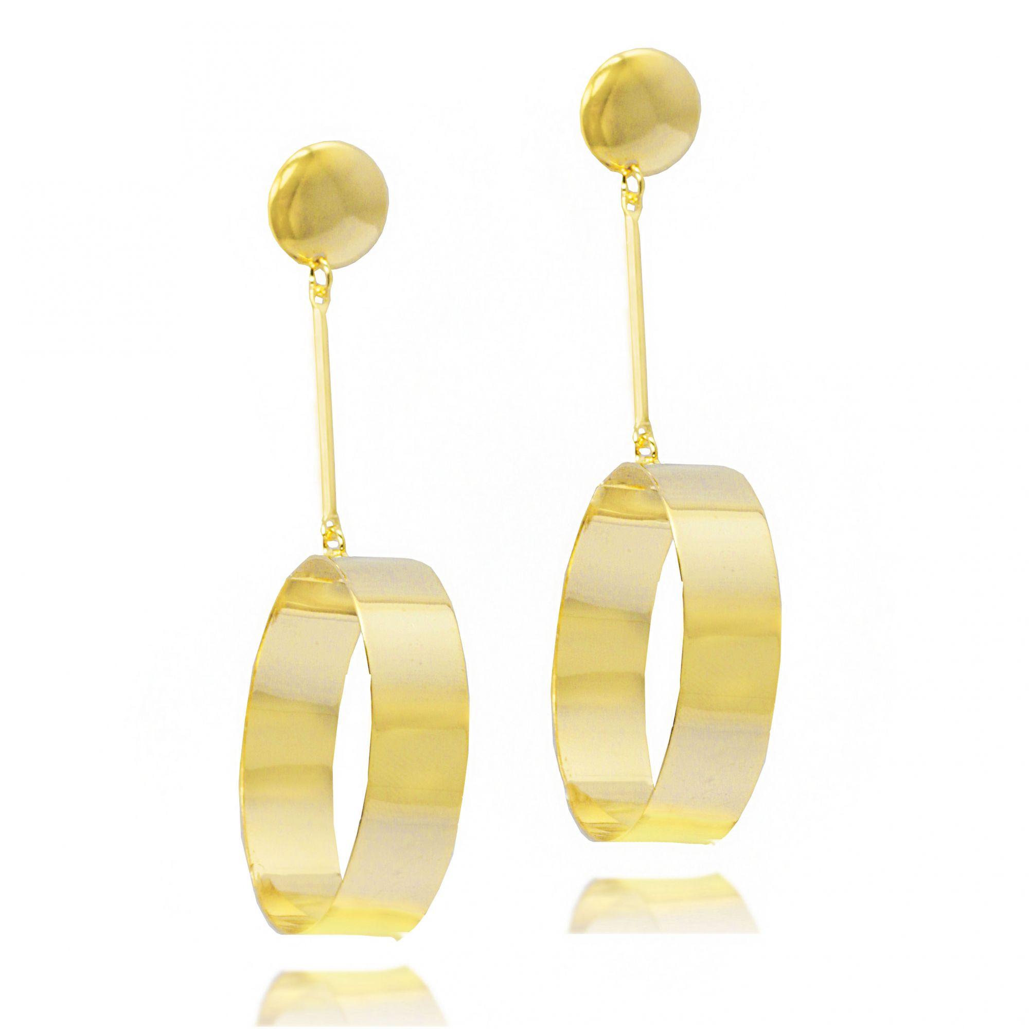 brincos brinco em forma de argola com pendente de moeda banho ouro ... 85af45bcb3
