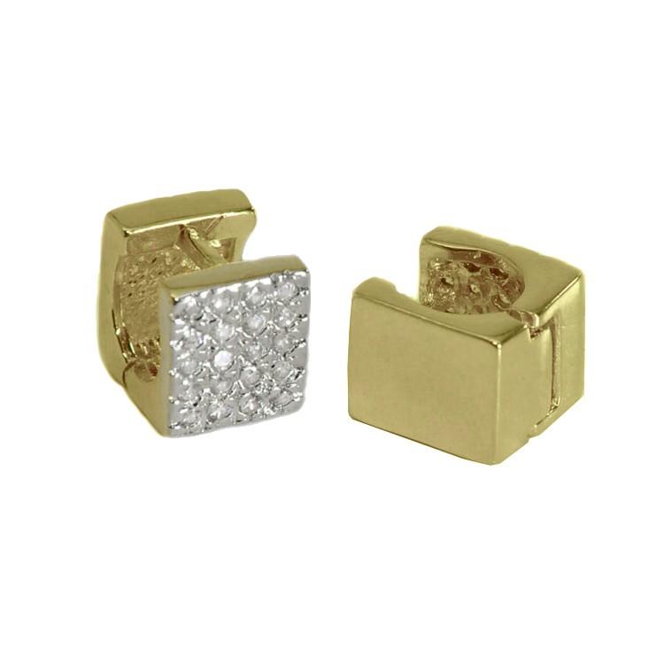 Brinco Argola Quadrada com Zircônia Folheado Ouro + Ródio - Lunozê Joias 8b355e67e4