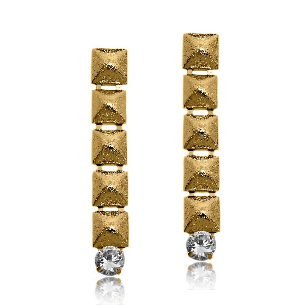 Brinco Diamantado Adorno 1 Zircônia Folheado a Ouro 18k