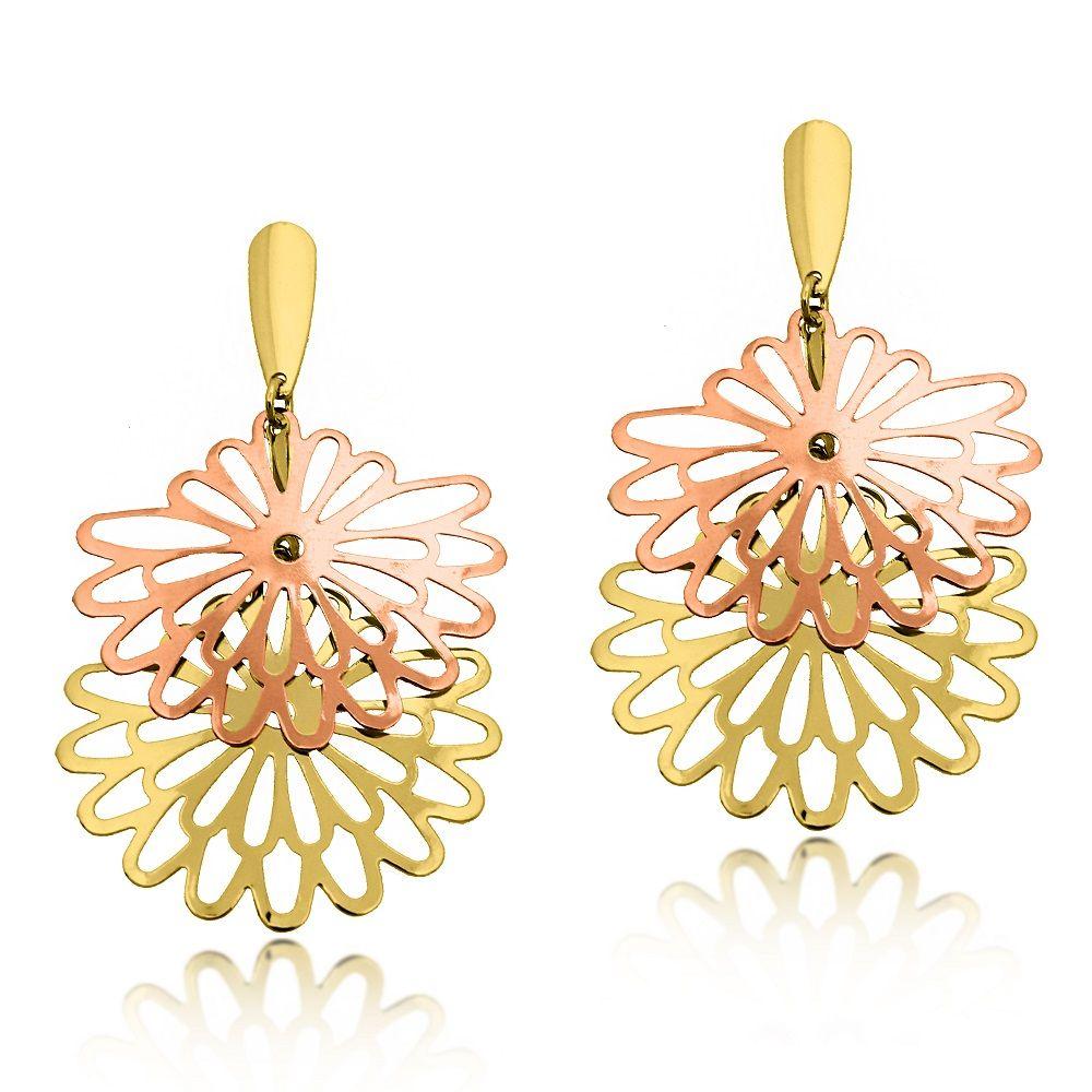 1e0ddfb6c6151 Brinco Grande 2 Flores Vazadas Folheado Ouro 18k + Ouro Rosé ...