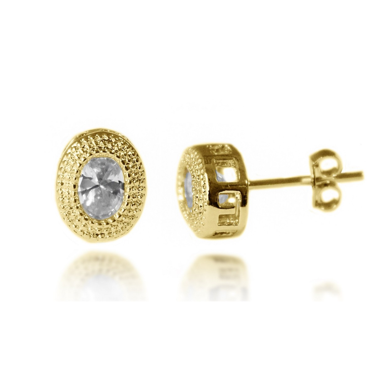 57ca3fe5be0c7 Brinco Ponto de Luz Oval Diamantado com Zircônia Folheado a Ouro 18k