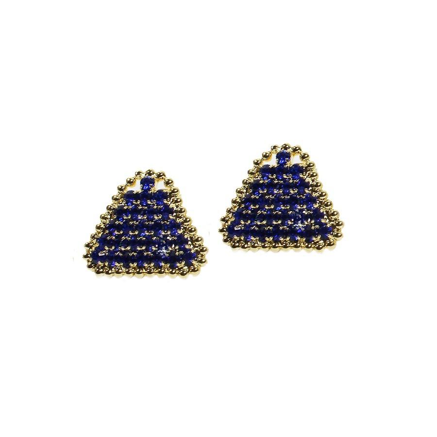 Brinco Triangulo Cravejado de Strass Folheado a Ouro 18k