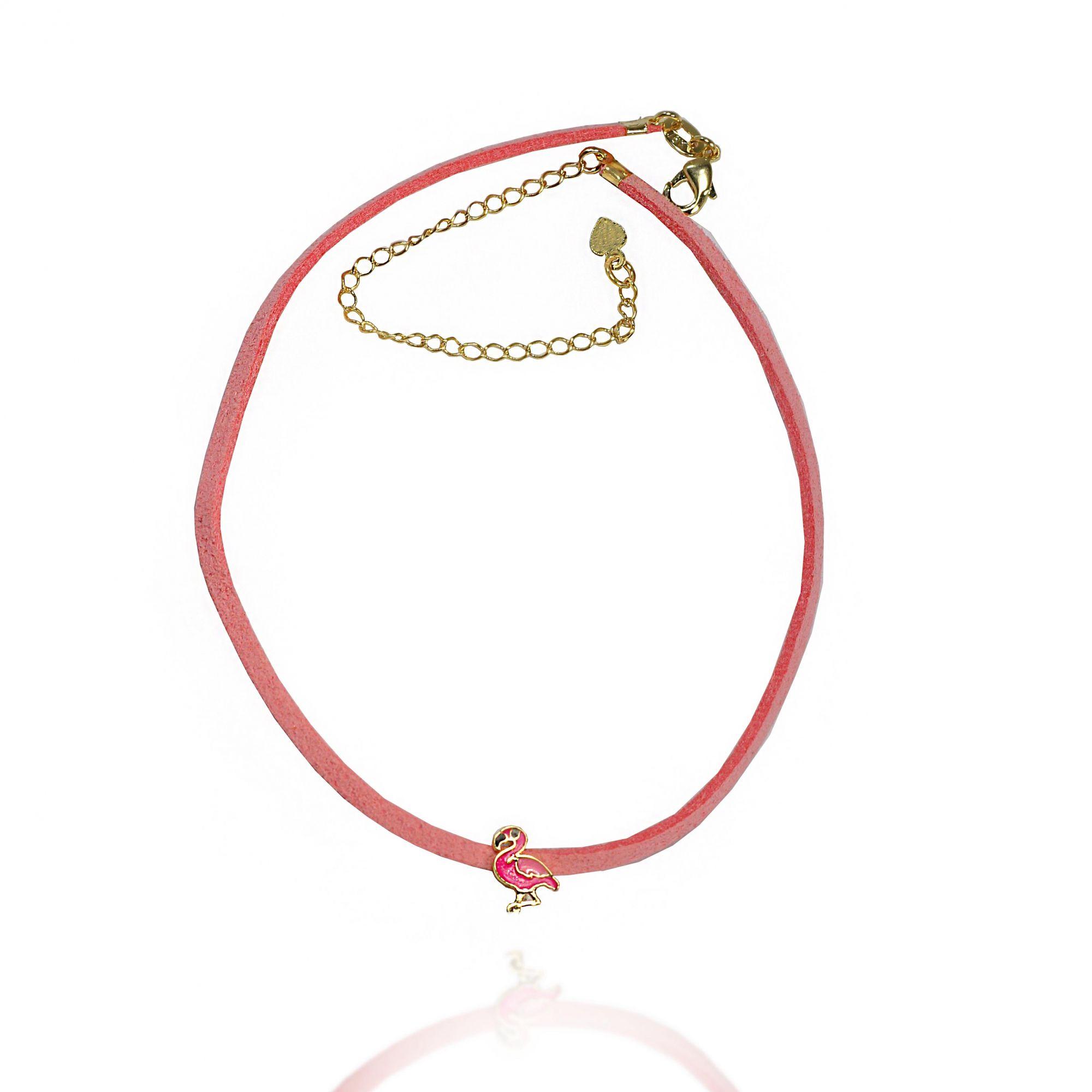 Colar Choker Infantil Camurça Flamingo Folheado a Ouro 18k - Lunozê Joias c6656bd7957f3