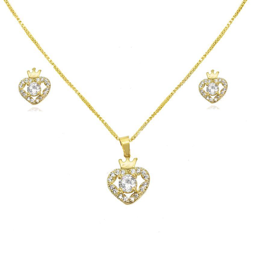 600e70b00ec71 Conjunto Coração Queen Zircônia Folheado a Ouro 18k - Lunozê Joias