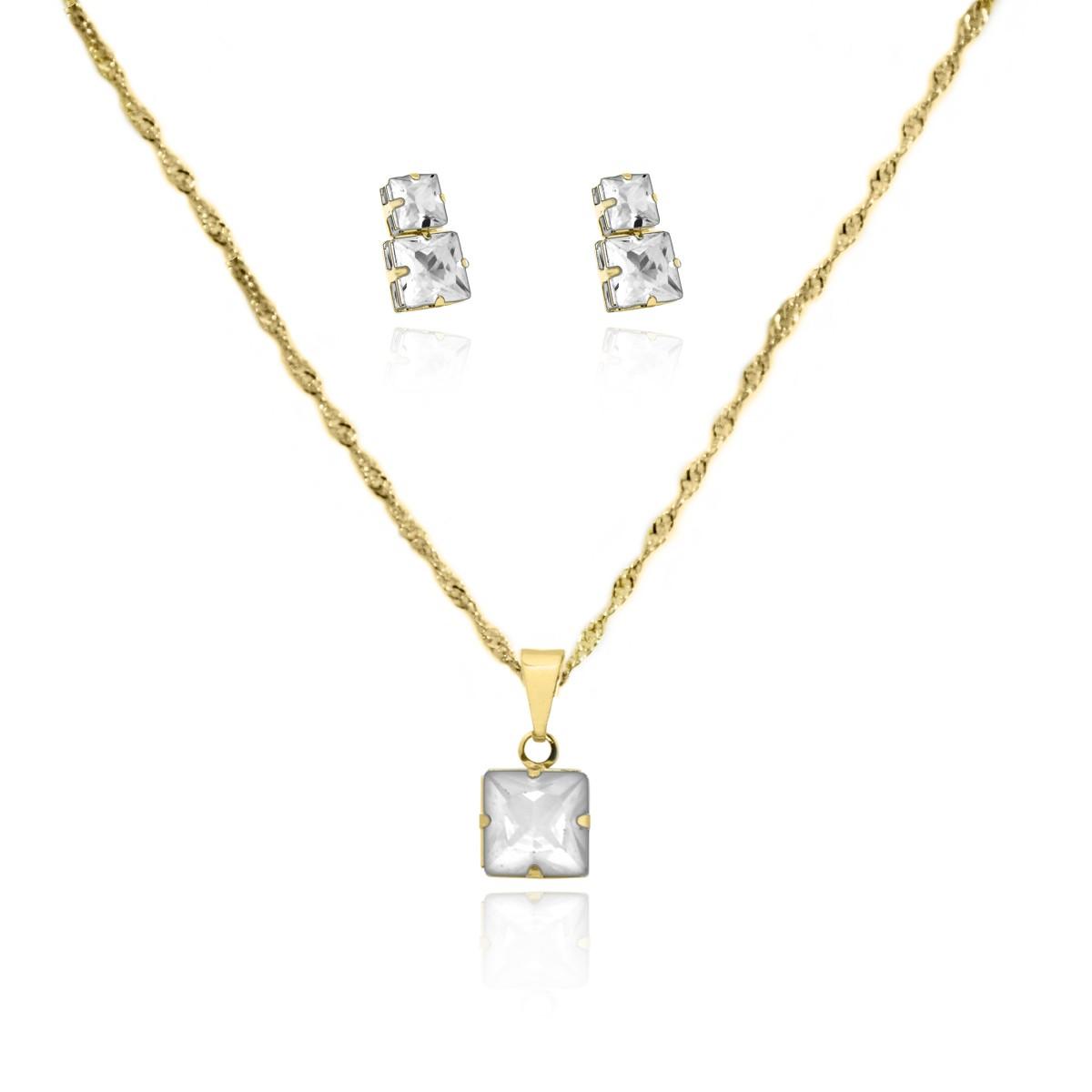 Conjunto de Brinco e Gargantilha de Pedra Retângular Folheado a Ouro 18k