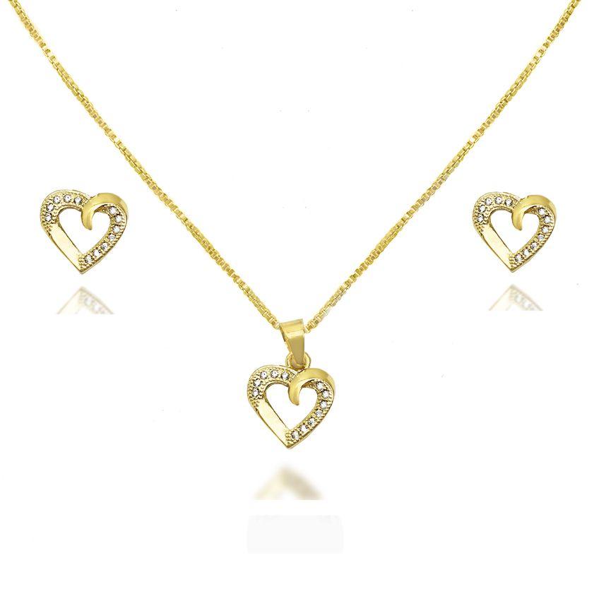 de76cf7842f56 Conjunto Heart Zircônia Cravejada Folheado a Ouro 18k - Lunozê Joias