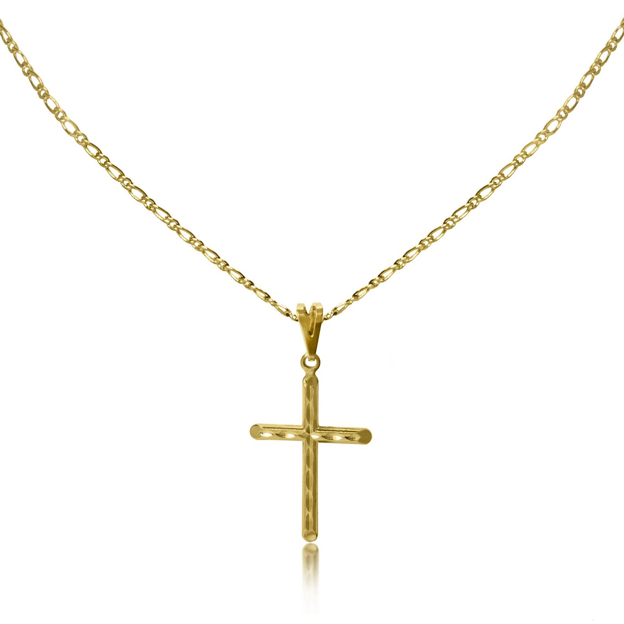 5860a66f012e4 Corrente Masculina Cruz Diamantada Folheado Ouro 18k