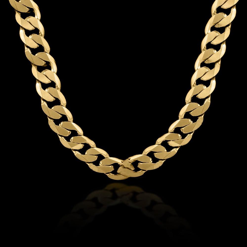 725169ca9b0ee Corrente Masculina Grossa Grumet Elo Único Folheado Ouro 18K ...