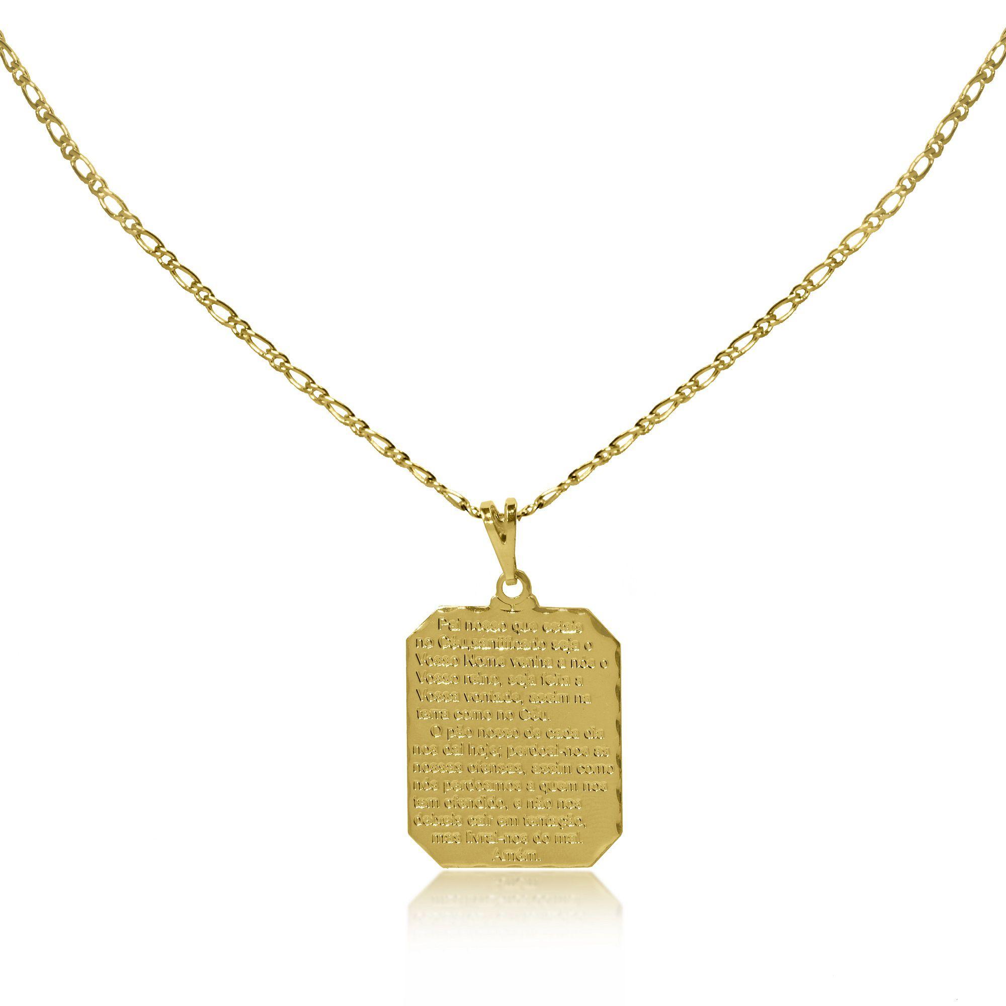 a1a8d49a7a1e3 Corrente Masculina Placa Pai Nosso Folheado Ouro 18k - Lunozê Joias