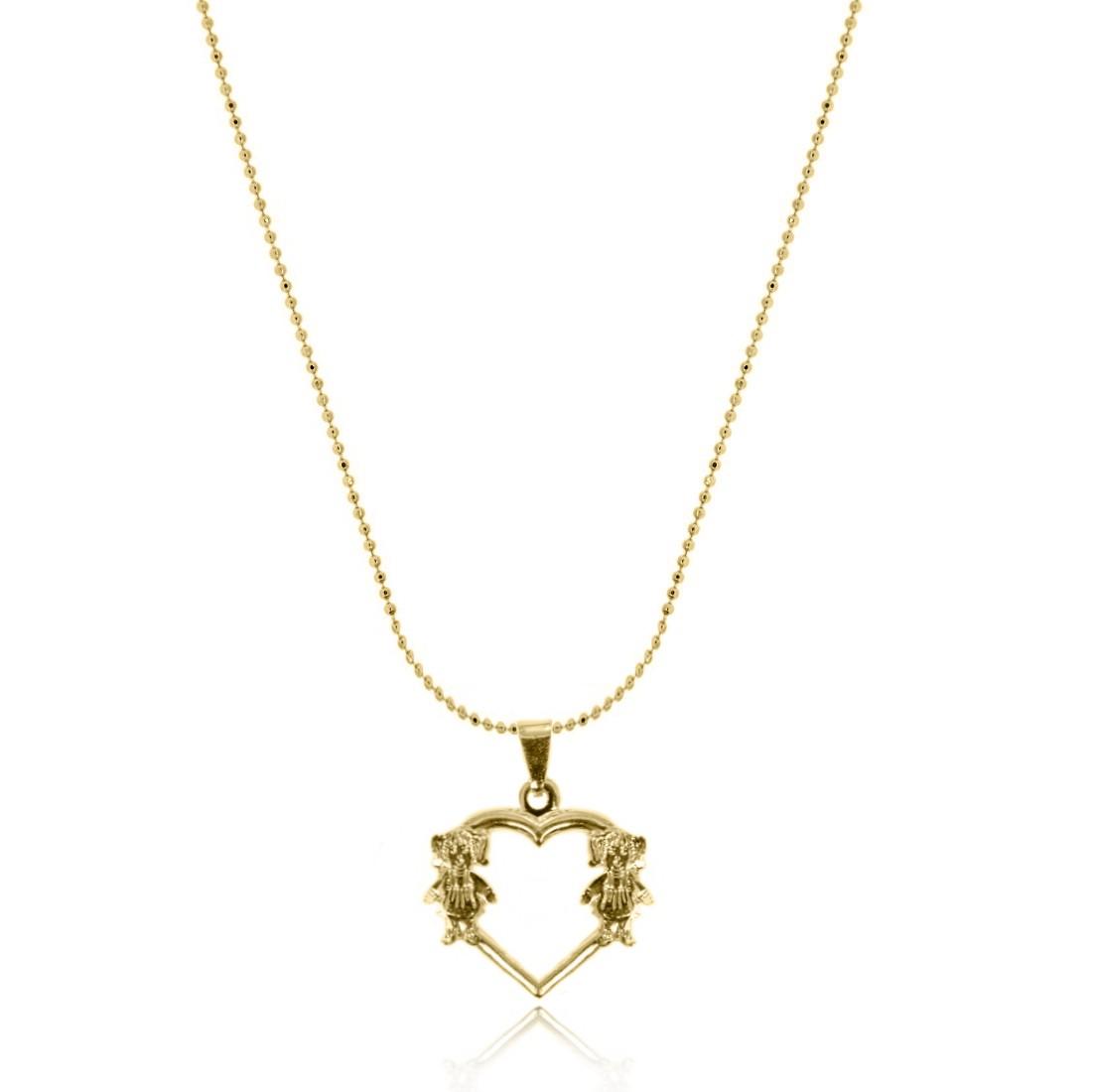 cd5771bac73b5 Gargantilha com Pingente de Coração com 2 Meninas Folheado a Ouro 18k