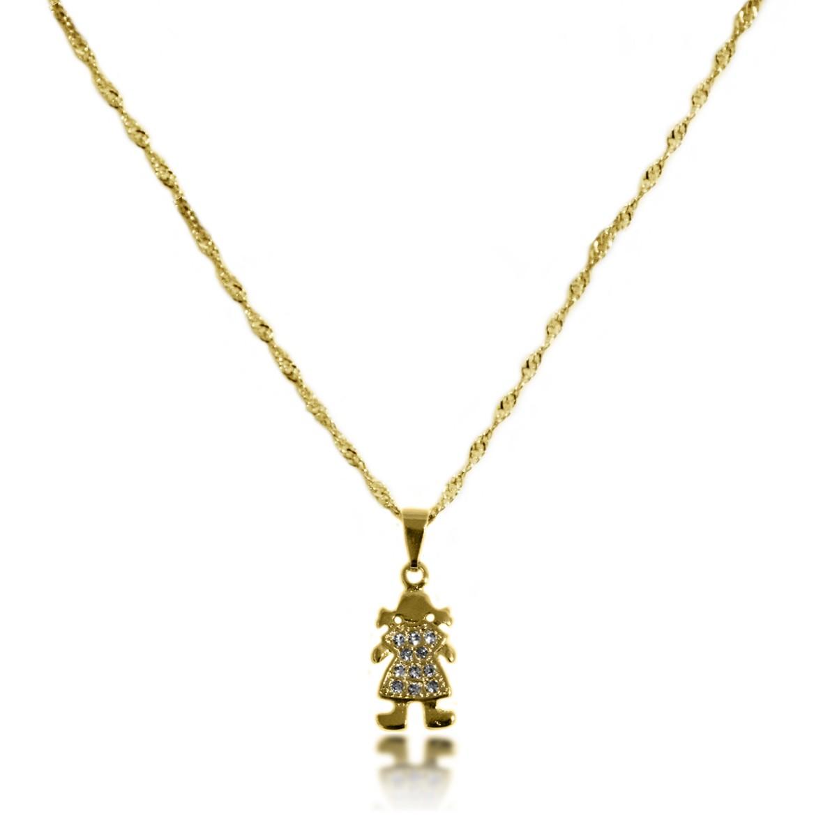 Gargantilha de Menina com Vestido Cravejado Folheado a Ouro 18k