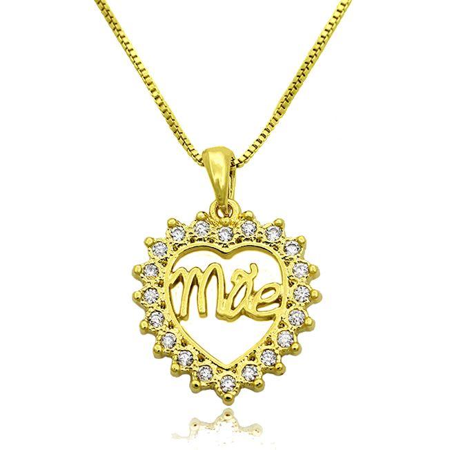 Gargantilha Mandala Coração Mãe Zircônias Folheado Ouro 18k