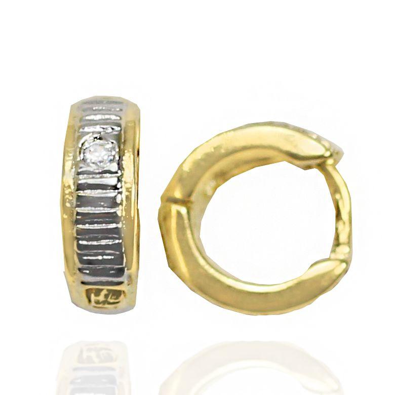 Brinco Argola Pequena c  1 Zircônia Banho Ouro 18K + Ródio - Lunozê Joias 4097dcc50f