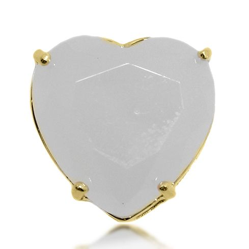 Pingente Coração Pedra Lapidada Folheado a Ouro 18k