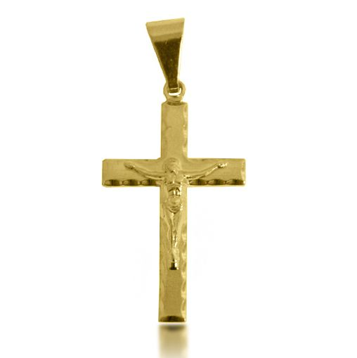 Pingente Cruz Jesus em Relevo Folheado a Ouro 18k