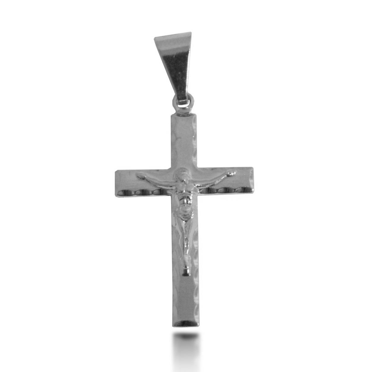 Pingente de Cruz em Relevo Folheado a Prata 1000