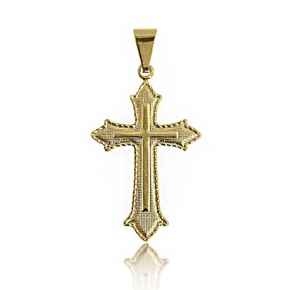 Pingente de Cruz Lateral Diamantada Folheado a Ouro 18k