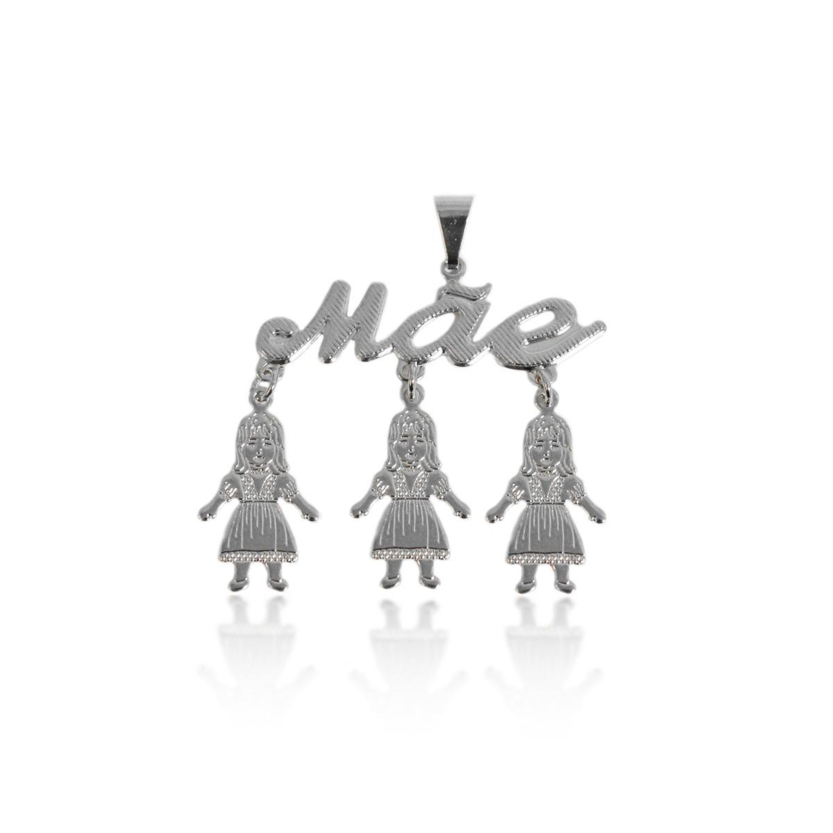 Pingente Escrito Mãe com 3 Meninas Folheado a Prata 1000