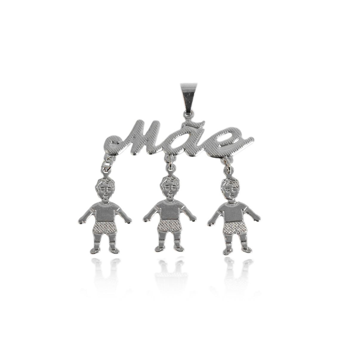 Pingente Escrito Mãe com 3 Meninos Folheado a Prata 1000