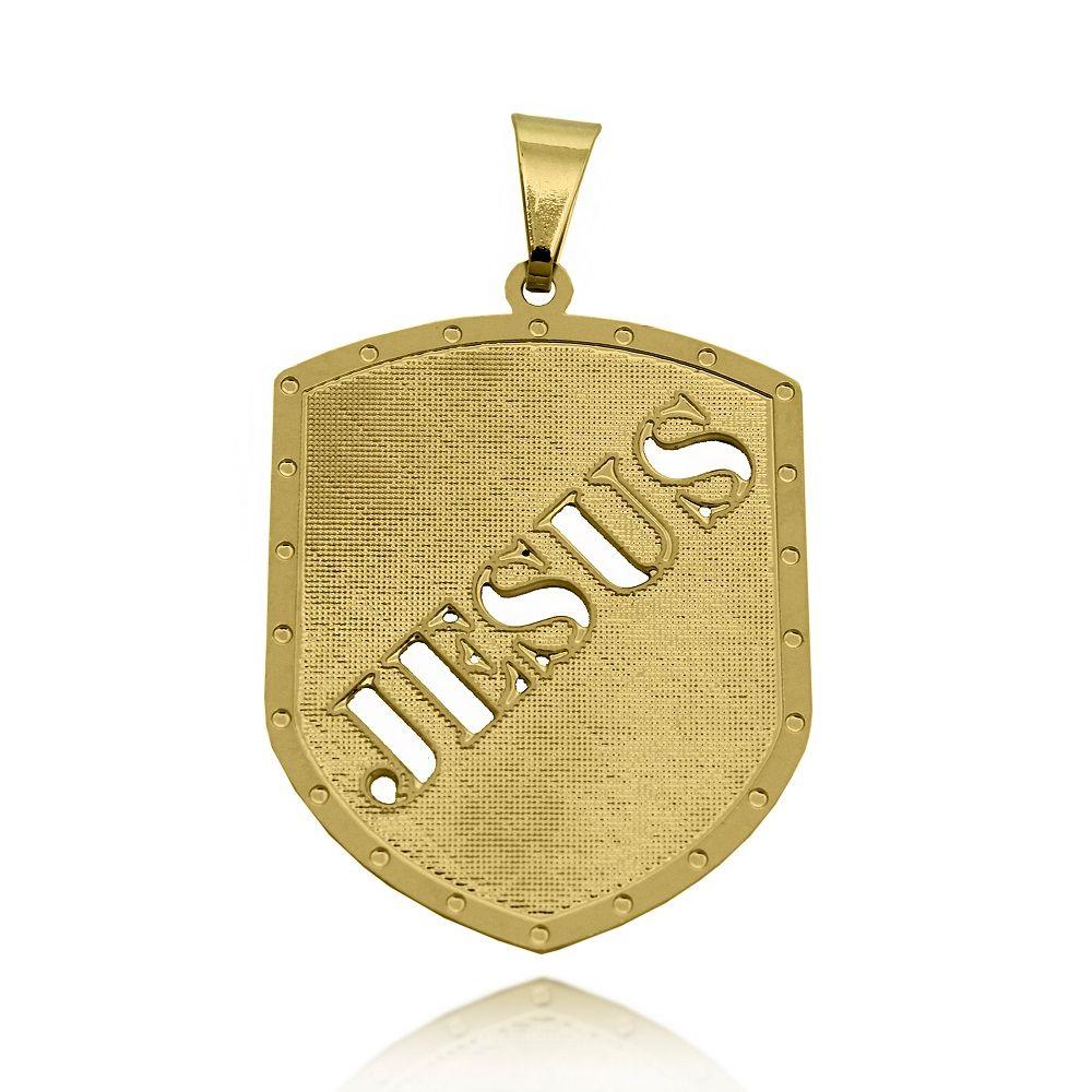 Pingente Escudo Jesus Vazado Folheado Ouro 18k