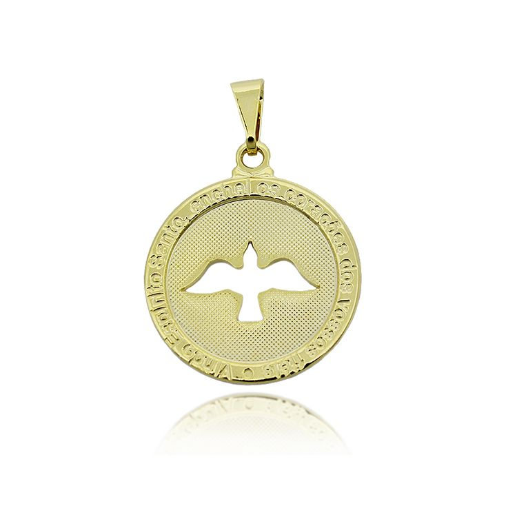 Pingente Medalha Espirito Santo Folheado a Ouro 18k
