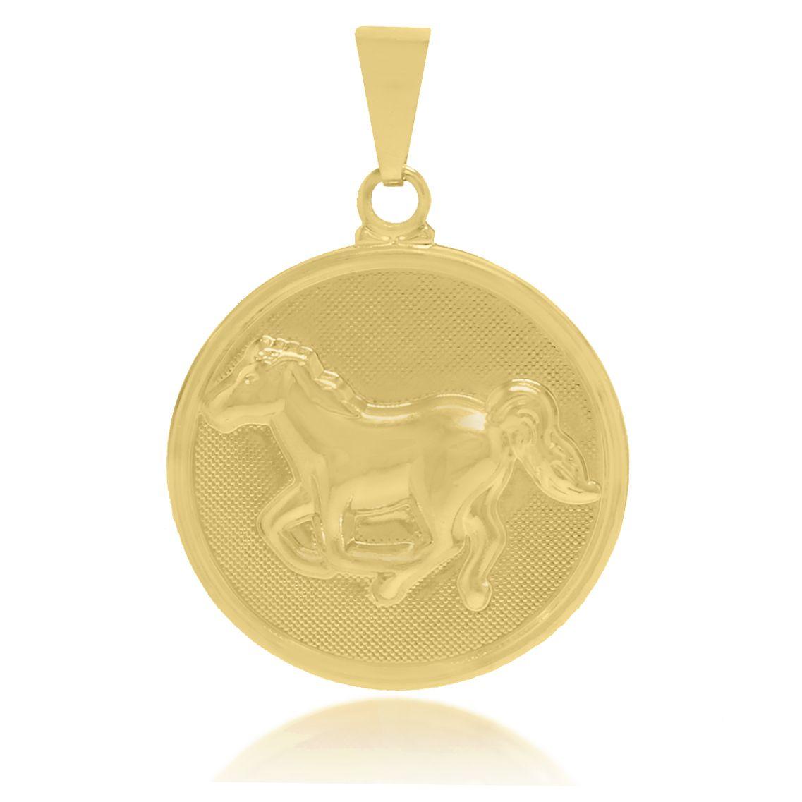 Pingente Medalha Cavalo Folheado a Ouro 18k
