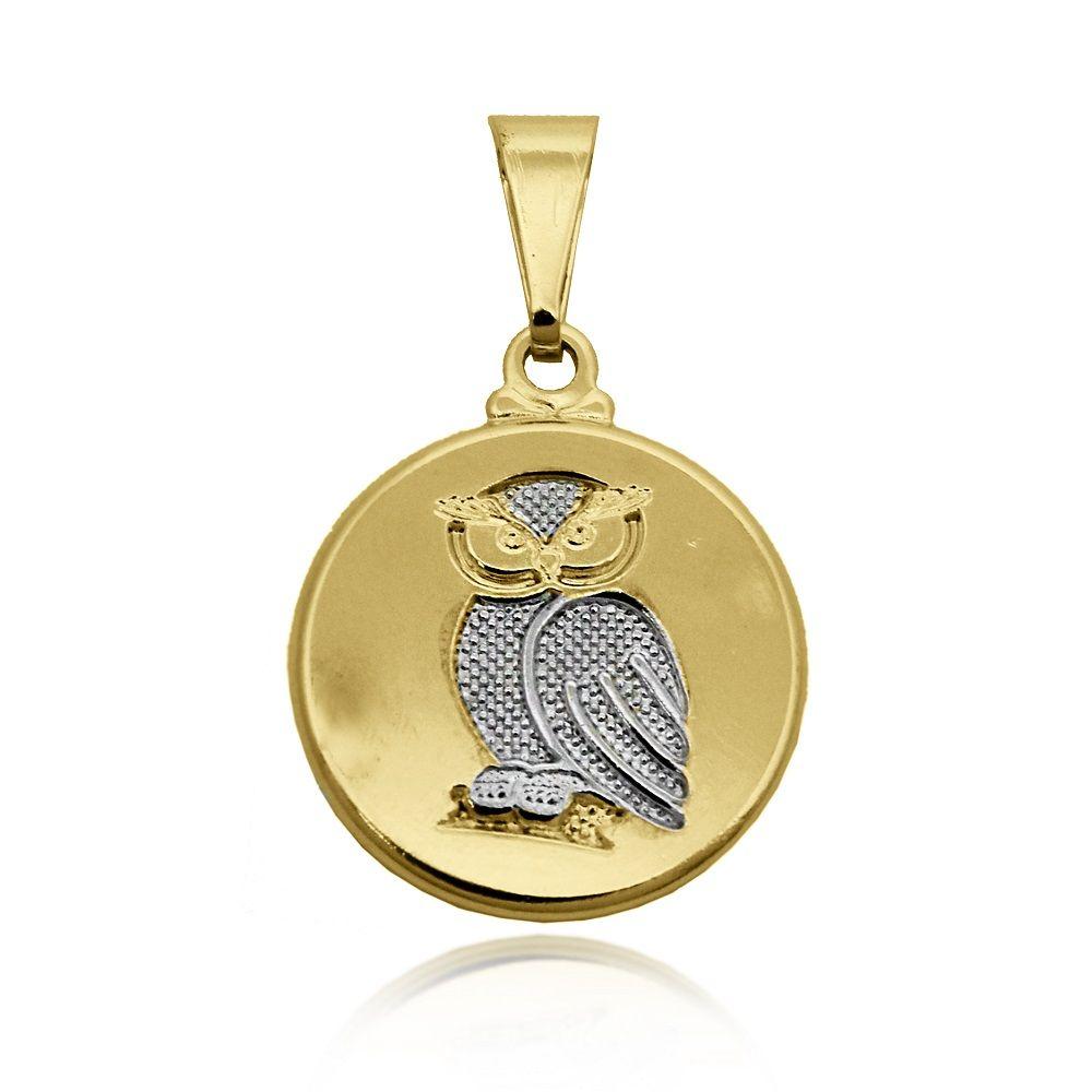 Pingente Medalha de Coruja Folheado Ouro 18k + Ródio