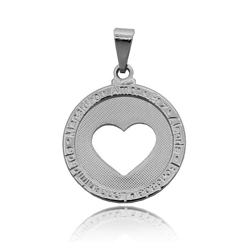 Pingente Medalha Desejos Coração Vazado Folheado Prata 1000