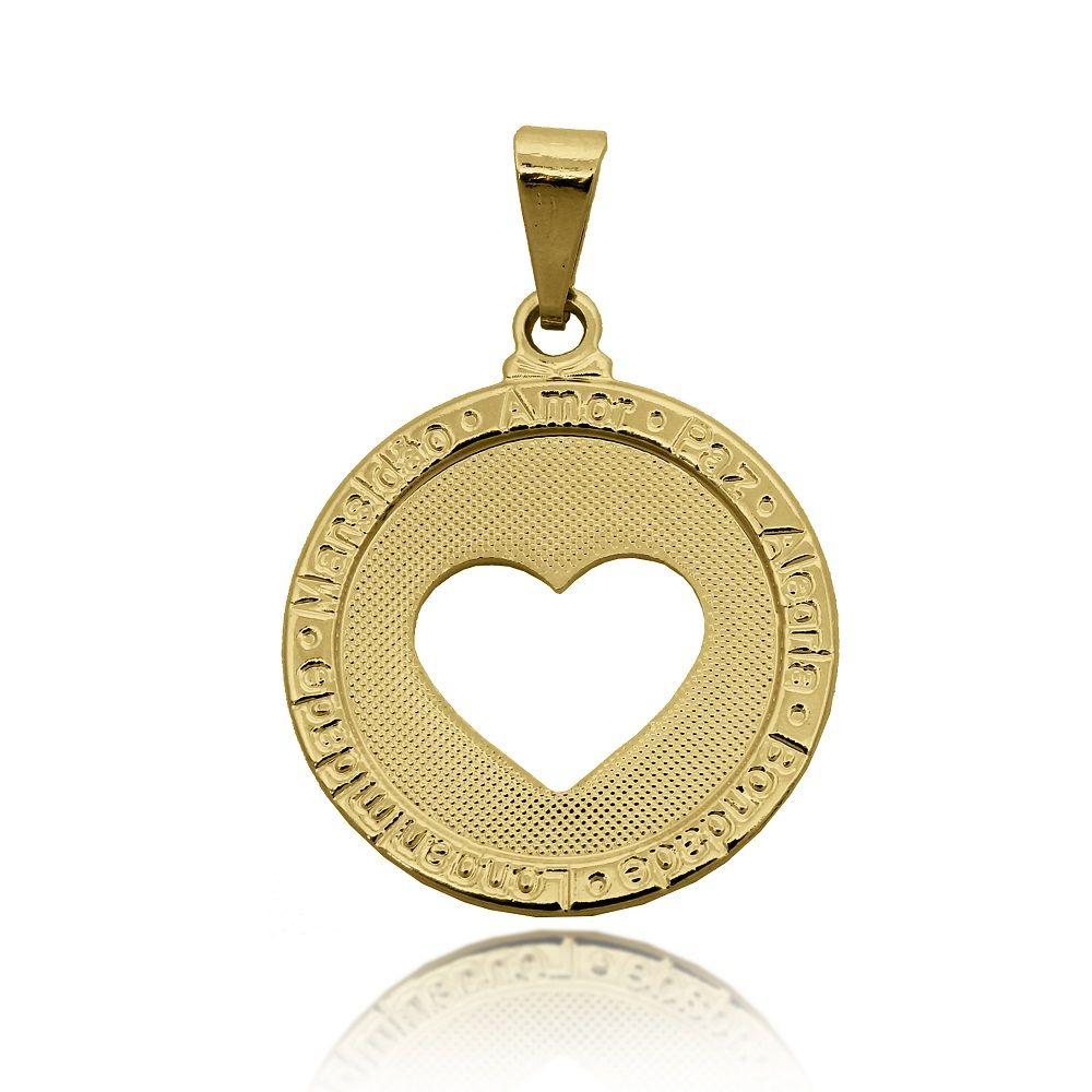dd62a1a2751b6 Pingente Medalha Desejos e Coração Vazado Folheado Ouro 18k