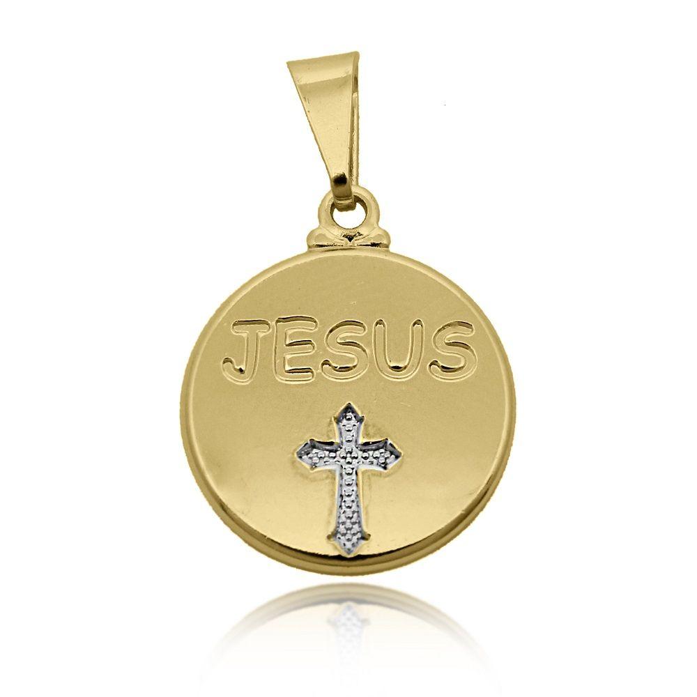 Pingente Medalha Jesus e Cruz Folheado Ouro 18k + Ródio