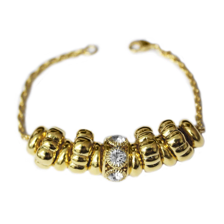 Pulseira Berloque com Círculos e Strass Folheado Ouro 18k - Lunozê Joias 5e57ab7e4be55