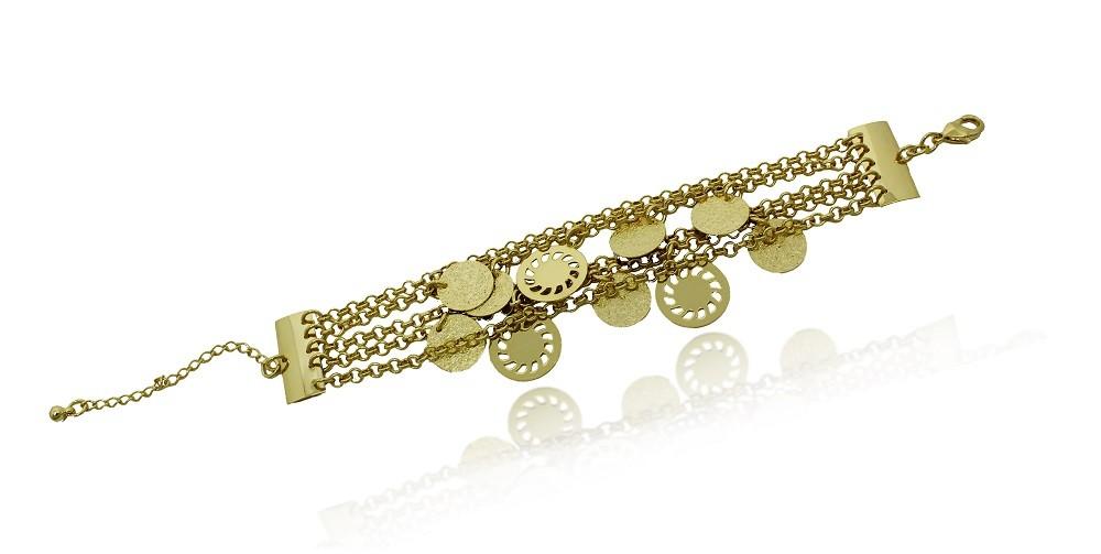Pulseira Bracelete 5 Fios Pend Círculos Folheado a Ouro 18k