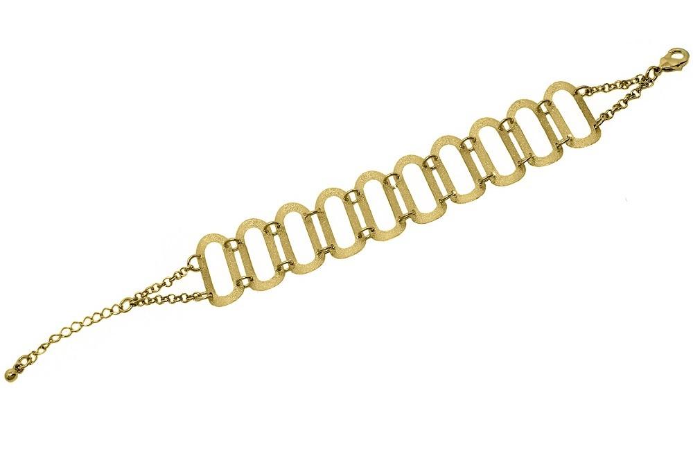 Pulseira Bracelete Elos Ovais Jateados Folheada a Ouro 18k