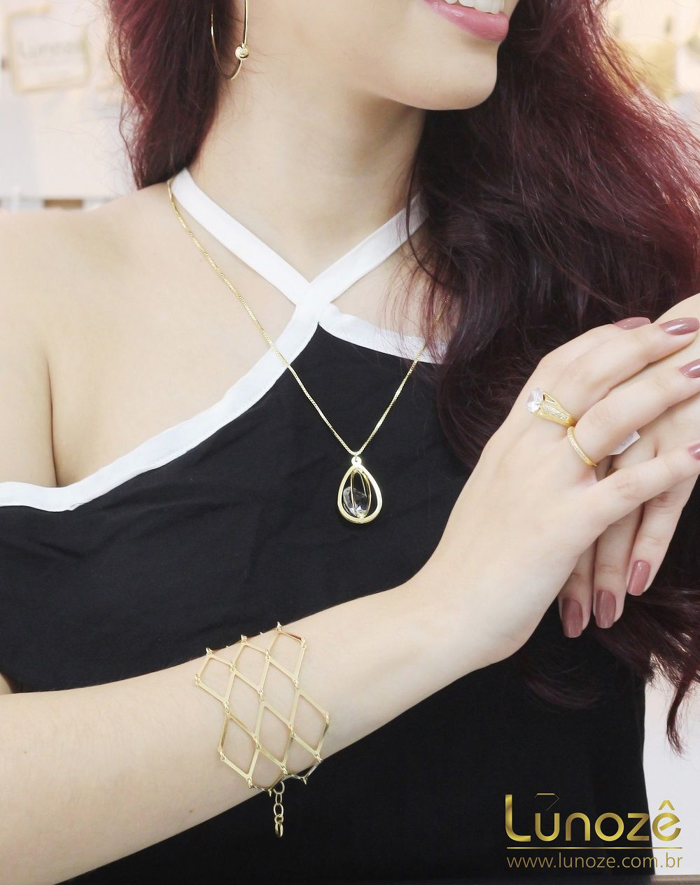 Pulseira Bracelete Losangos Vazados Folheado a Ouro 18k